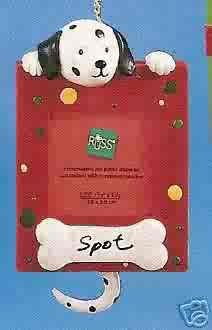 Russ Berrie Wags to Whiskers Christmas Ornament - Dalmatian Dog Photo Frame FREE USA SHIPPING