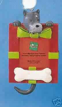 Russ Berrie Wags to Whiskers Christmas Ornament - Gray Dog Photo Frame FREE USA SHIPPING