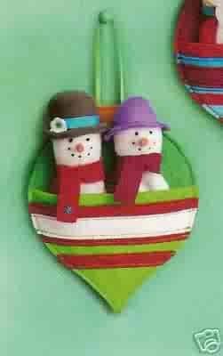 Russ Berrie Christmas Ornament - Felt FInger Puppets - Snowman FREE USA SHIPPING