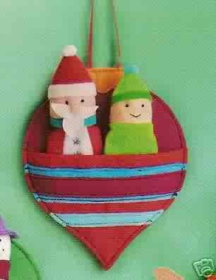 Russ Berrie Christmas Ornament - Felt Finger Puppets - Santa & Elf FREE USA SHIPPING