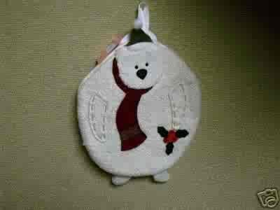 Russ Berrie Christmas - Moments of Wonder Polar Bear Round  Hot Pad FREE USA SHIPPING!