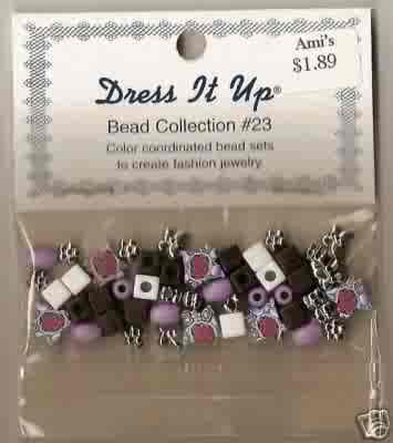 Dress It Up Bead Collection #23 - Light Purple Floral - Fimo/Acrylic  FREE USA SHIPPING!