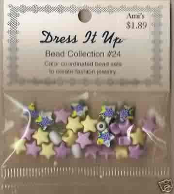 Dress It Up Bead Collection #24 - Lavender/Yellow Stars - Acrylic FREE USA SHIPPING!