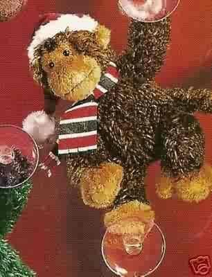 Russ Christmas Glitter Gang Plush Window Cling - Monkey - FREE USA SHIPPING!!!