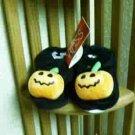 Russ Berrie Halloween Warm & Toasty Pumpkin Baby Booties - Black FREE USA SHIPPING!