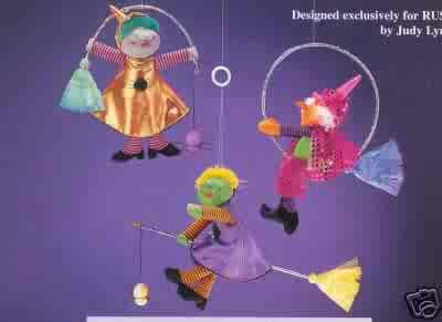 Russ Berrie Halloween Fluttering Fiends Large Witch Decoration - PURPLE DRESS