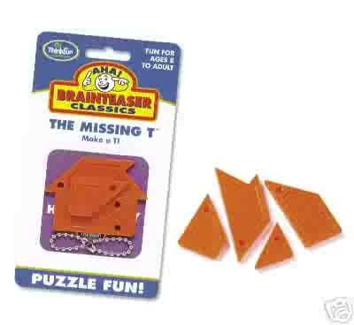Aha! Missing T Brainteaser Puzzle by Thinkfun  - FREE USA SHIPPING!