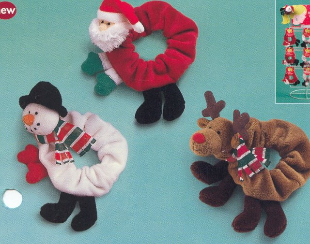 Russ Berrie Christmas - Velour Hair Scrunchies - Snowman