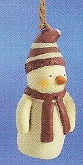 Russ Berrie Peace in the Meadow Christmas Ornament - Snowman with Striped Cap FREE USA SHIPPING!
