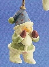 Russ Berrie Peace in the Meadow Christmas Ornament - Santa with Green Coat FREE USA SHIPPING!