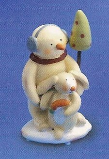 Russ Berrie Peace in the Meadow Small Figurine - Earmuff Snowman with Bunny - FREE USA SHIPPING!!