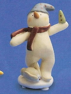 Russ Peace in the Meadow Small Figurine - Green Hat Snowman with Small Tree FREE USA SHIPPING!!