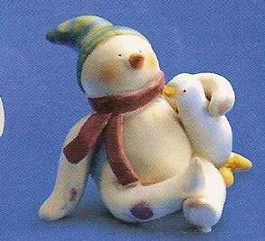 Russ Peace in the Meadow Small Figurine - Snowman Sitting with Goose FREE USA SHIPPING!!