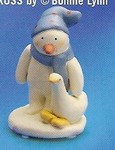 Russ Peace in the Meadow Small Figurine - Blue Hat Snowman with Goose - FREE USA SHIPPING!
