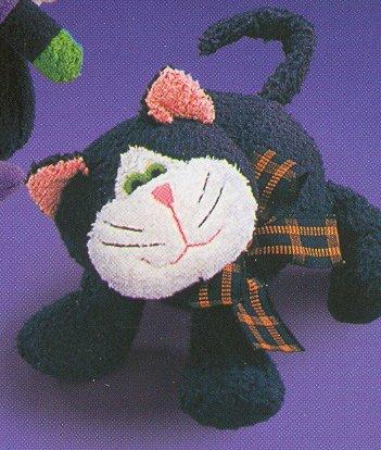 Russ Berrie Halloween Plush Chamois Boo Buddies - BLACK CAT FREE USA SHIPPING!!