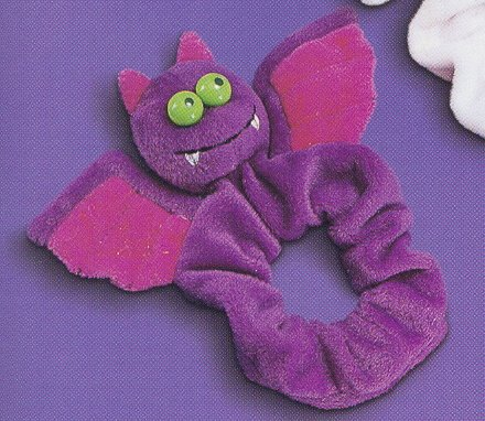 Russ Berrie Halloween - Velour Hair Scrunchies - Purple Bat FREE USA SHIPPING!