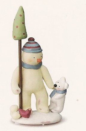 Russ Peace in the Meadow Medium Figurine - Snowman with Polar Bear - FREE USA SHIPPING!!!