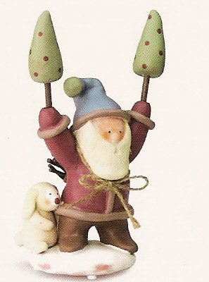 Russ Peace in the Meadow Medium Figurine - Santa with Trees FREE USA SHIPPING!! 32337