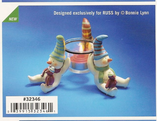 Russ Peace in the Meadow Large Votive Holder 3 Snowmen FREE USA SHIPPING!!