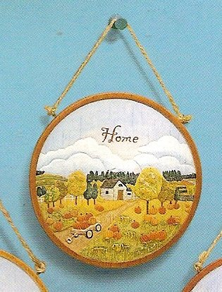 Russ Berrie Autumn Harvest Homecoming Collection Round Wall Plaque - Home FREE SHIPPING IN USA!