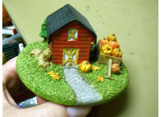 Russ Berrie Autumn Collection Round Candle Jar Topper - Red Barn - FREE USA SHIPPING