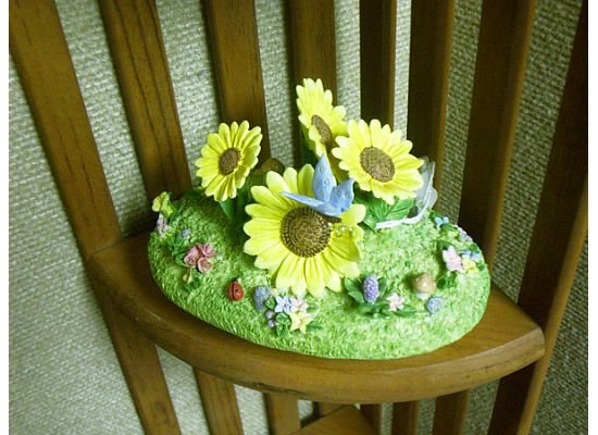 Russ Berrie Oval Candle Jar Topper - Spring Sunflower Garden FREE USA SHIPPING!