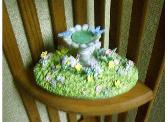 Russ Berrie Oval Candle Jar Topper - Spring Bluebird Bird Bath  FREE USA SHIPPING!!!