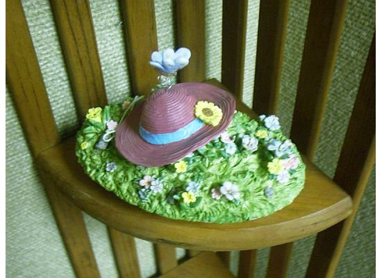 Russ Berrie Oval Candle Jar Topper - Spring Butterfly Garden Hat  FREE USA SHIPPING!