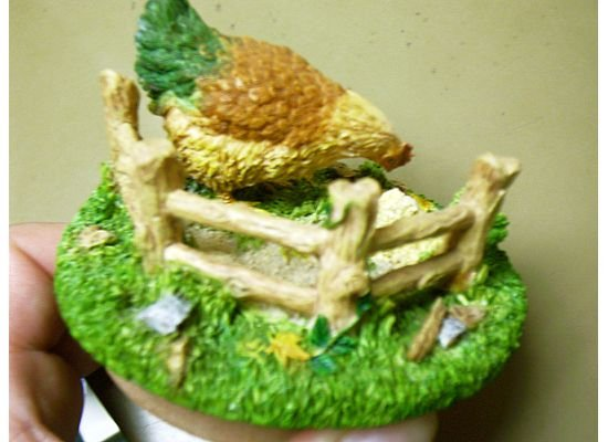 Russ Berrie Autumn Collection Round Candle Jar Topper - Chicken Pickin' - FREE USA SHIPPING!