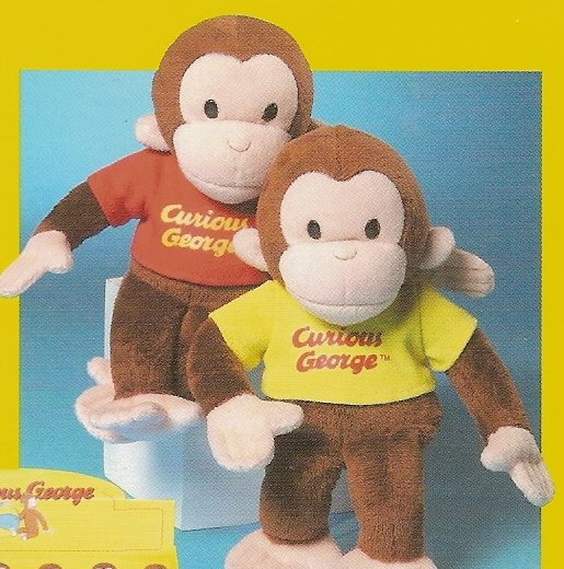 "Curious George Beanbag Plush Monkey 8""  Yellow Shirt FREE USA SHIPPING"