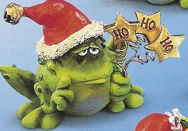 Russ Toadily Yours Christmas Frog with Gold Stars 22654 FREE USA SHIPPING!