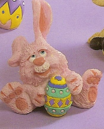 Russ Easter Farm by Doug Harris - Pink Bunny Sitting with Egg - FREE USA SHIPPING!!!