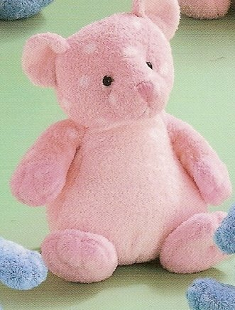 Russ Berrie Baby Plush Collection - Polka Dotsies Rattle Teddy Bear - Pink  FREE USA SHIPPING!!!