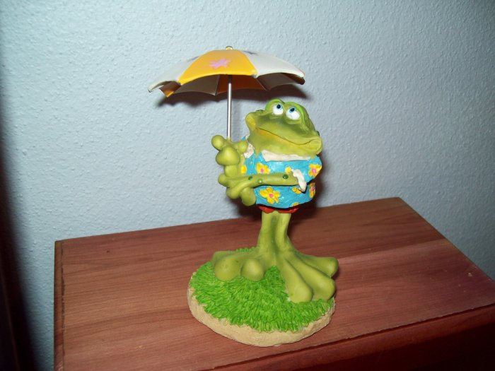 Russ Toadily Yours Summer Umbrella Tropical  Bobble Frog 25403 FREE USA SHIPPING!