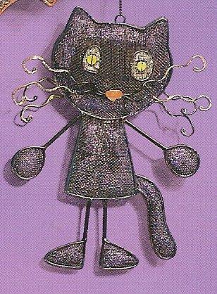Russ Halloween Happy Hauntings Metal Mesh Ornament - Black Cat FREE USA SHIPPING!