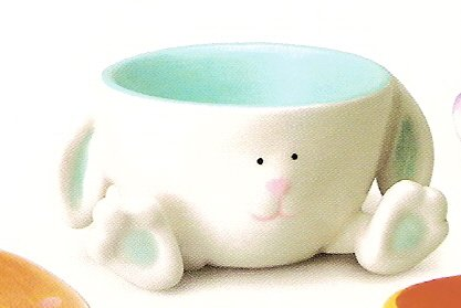 Russ Berrie Welcome Friends Easter Egg Cup with Feet - White & Blue Bunny - FREE USA SHIPPING!!!