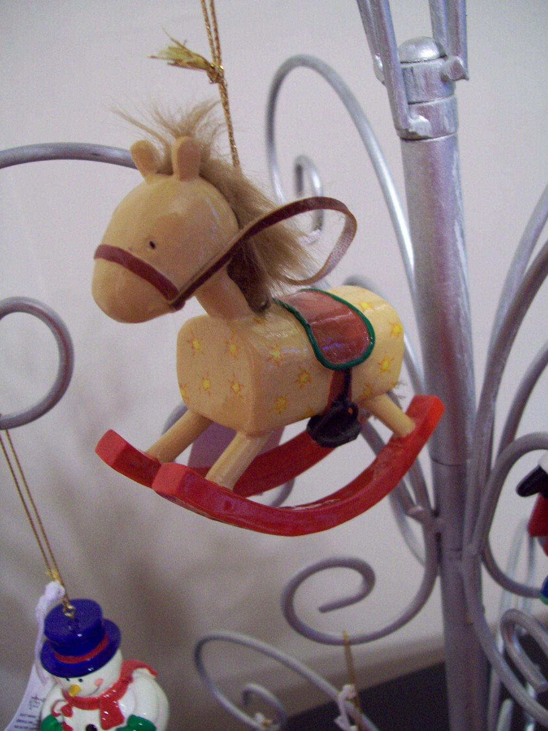 Russ Berrie Santa's Toyland Pull & Dangle Christmas Ornament - Rocking Horse