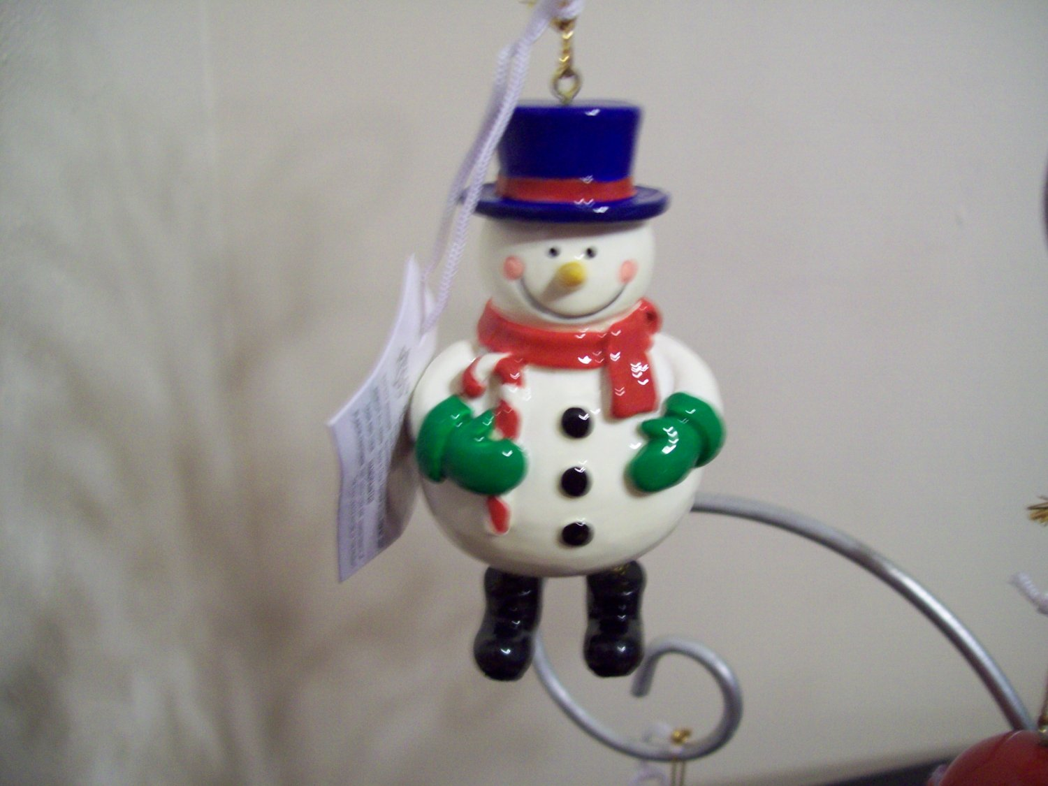 Russ Berrie Santa's Toyland Pull & Dangle Christmas Ornament - Snowman