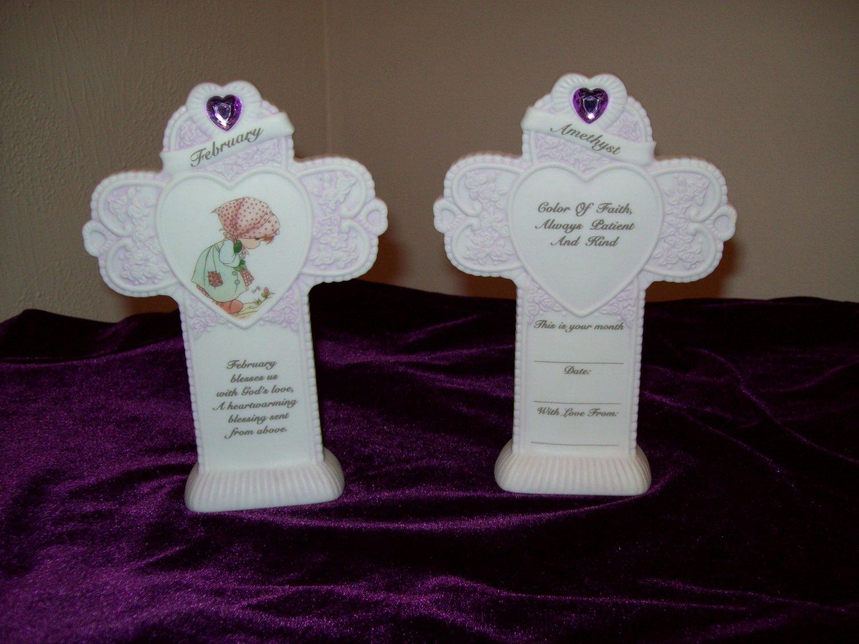 Precious Moments Porcelain Birthday Birthmonth Cross - February