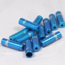 8 PCS CNC ALLOY JAGWIRE 4MM END CAPS lined ferrules SHIFTER DERAILLEUR BLUE FREE SHIPPING