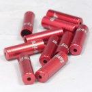 8 PCS CNC ALLOY JAGWIRE 4MM END CAPS lined ferrules SHIFTER DERAILLEUR RED