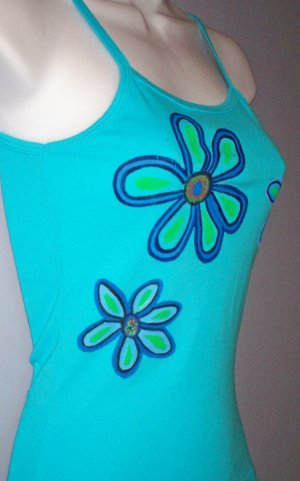 Turquoise Hand Painted Floral Spaghetti Strap Tank Size
