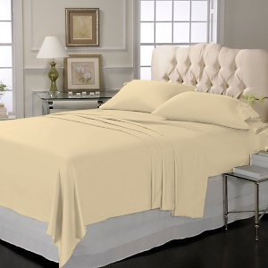 LUXURY SOLID SHEET SET 100%EGYPTIAN COTTON KING  600TC  SATIN BEIGE.