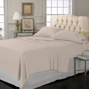 LUXURY SOLID SHEET SET 100%EGYPTIAN COTTON KING  600TC  SATIN TAUPE.