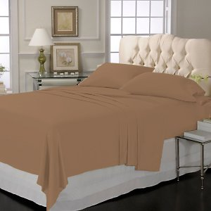 LUXURY SOLID SHEET SET 100% EGYPTIAN COTTON KING 800 TC SATIN CHOCOLATE.