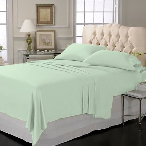 LUXURY SOLID SHEET SET 100% EGYPTIAN COTTON KING 800 TC SATIN SAGE.