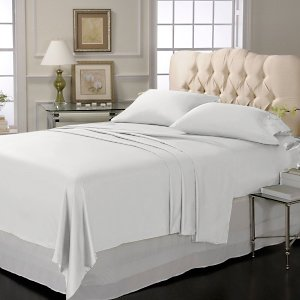 LUXURY SOLID SHEET SET 100%EGYPTIAN COTTON KING  1000TC  SATIN WHITE.