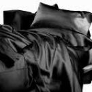 SHEET SET 100%EGYPTIAN COTTON QUEEN 600 TC SATIN BLACK SOLID
