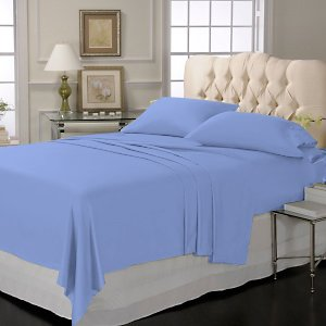 SHEET SET 100%EGYPTIAN COTTON QUEEN 800 TC SATIN BLUE SOLID