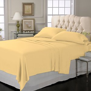LUXURY SOLID SHEET SET 100% EGYPTIAN COTTON QUEEN 1000 TC SATIN GOLD